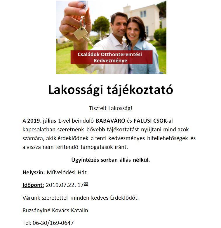 LAKOSSÁGI TÁJÉKOZTATÓ - BABAVÁRÓ ÉS FALUSI CSOK